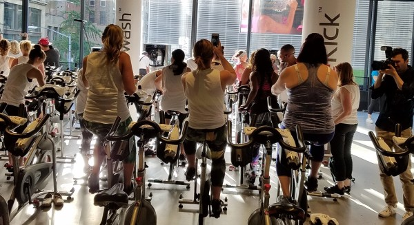 Editor's eagerly waiting for Malin Akerman and Cyc Fitness Founder Keoni Hudoba to co-lead a spin class celebrating the new LG Sidekick