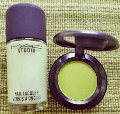MAC Cosmetics Its a Strike Makeup Collection Nail Polish Baby Split eye shadow Bowl-a-Rama.