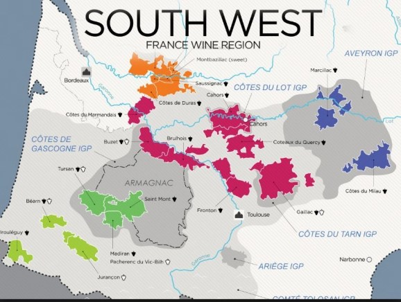 map of Southwest France's Wine regions