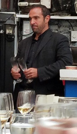 Sommelier of the Year Michael Madrigale makes a point at BOBO Restaurant wine and caviar tasting