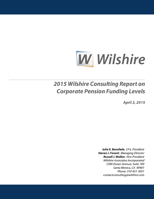 Advisorselect - 2015 Wilshire Consulting Report on Corporate Pension - consulting report