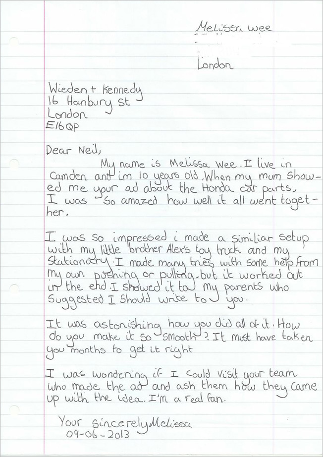 10-Year-Old Writes Love Letter to Wieden + Kennedy About 10-Year-Old