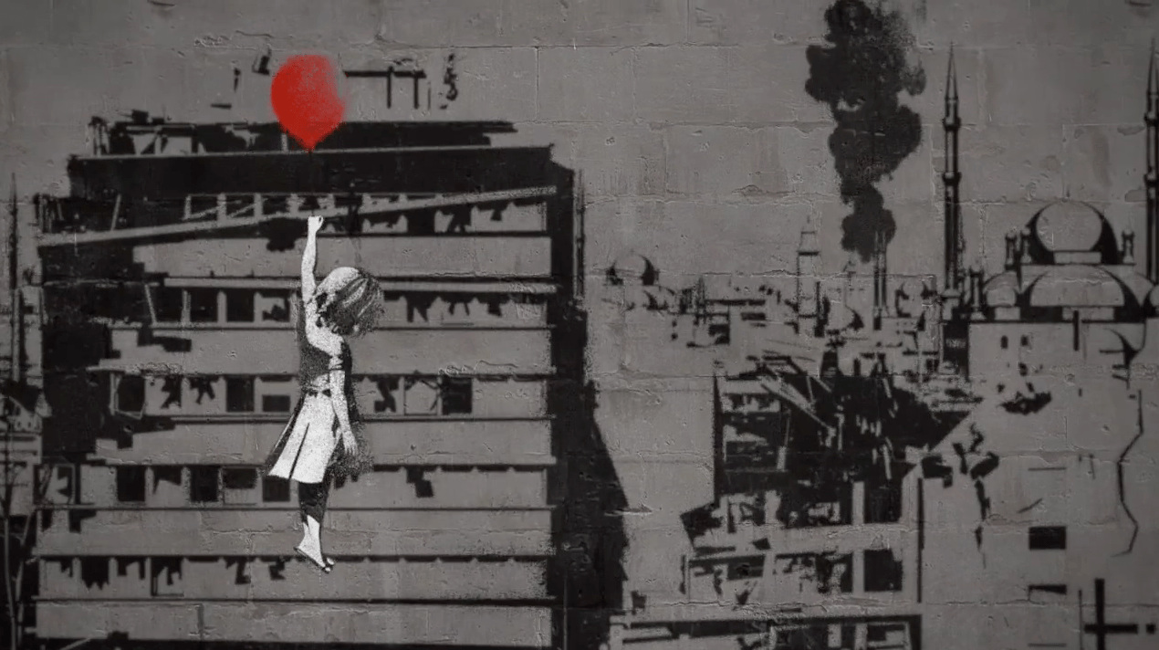 Hulk With Girl Wallpaper Banksy Reworks Balloon Girl In Campaign For Syria S