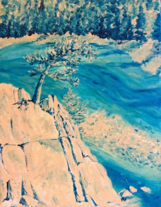 Riverbend, Acrylic, stretched canvas, painting, Bow river, Banff, Alberta