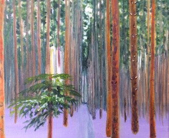 Developing the trees in the middle ground with orange and purple