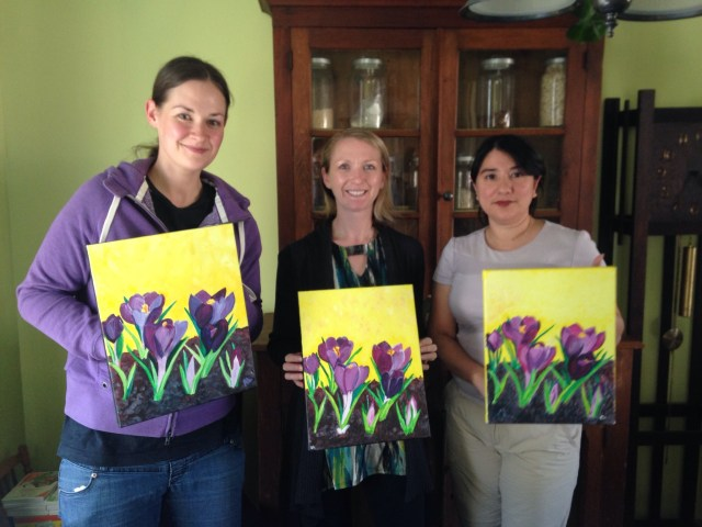 Crocus Garden completed acrylic paintings April 2016