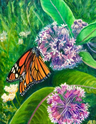 Monarch, butterfly, blooms, acrylic, painting