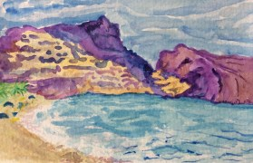 Altea Hills from Sea side, watercolour, painting