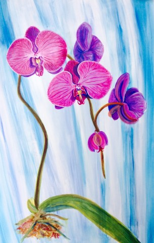 Orchids, flowers, painting, acrylic