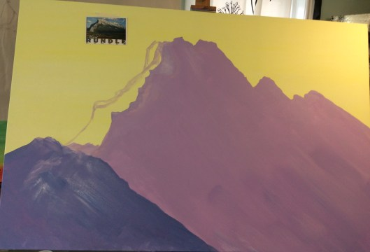 Rundle mountain revisited wip, acrylic on canvas 40