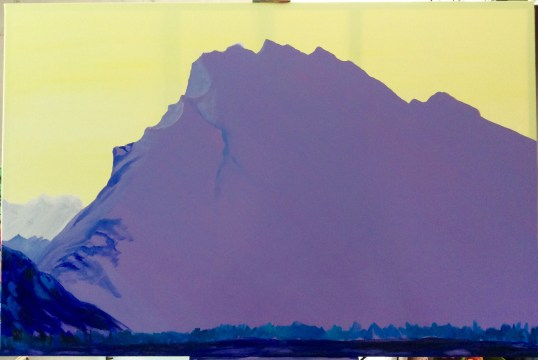 Rundle mountain revisited wip4, acrylic on canvas 40