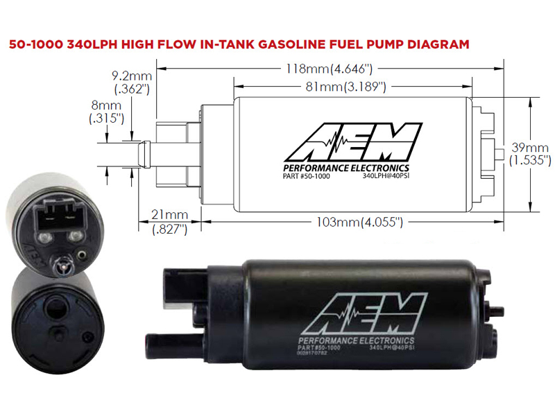 340lph High Flow In-Tank Fuel Pump (Offset Inlet) AEM