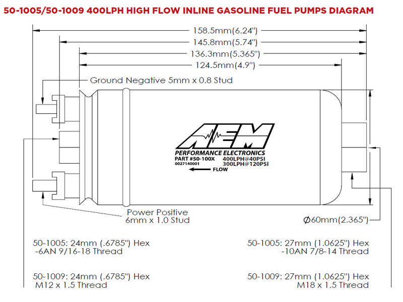 400lph Inline High Flow Fuel Pump AEM