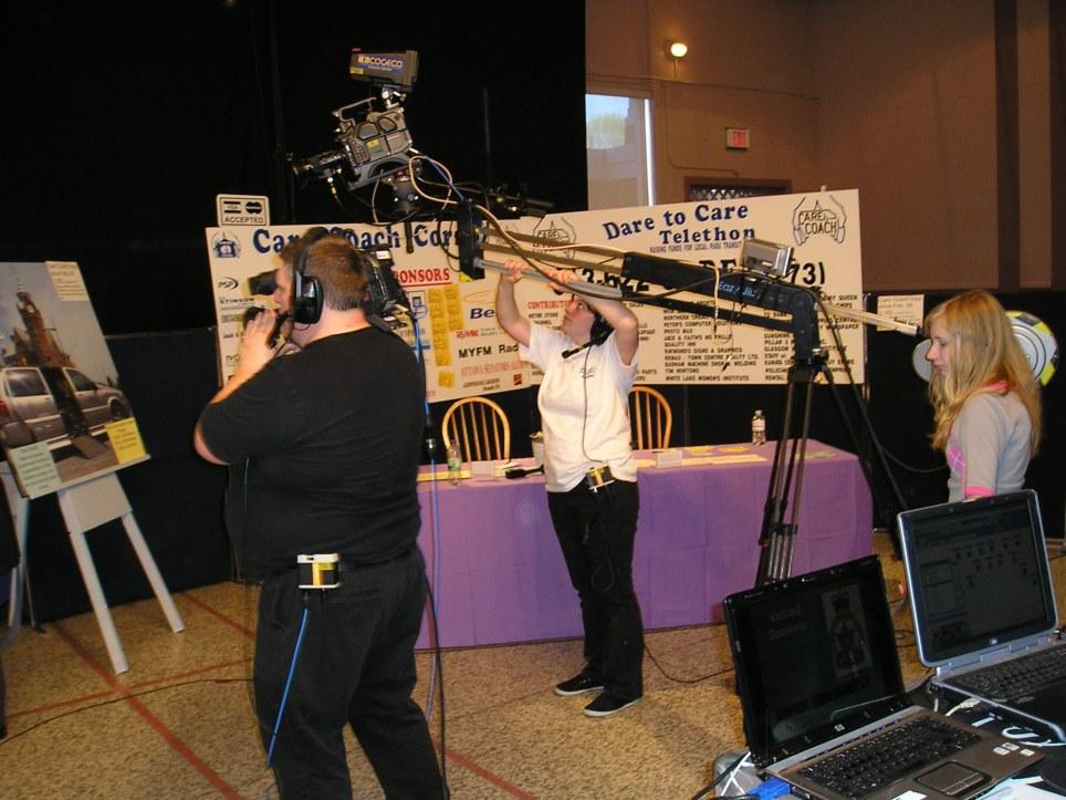 Volunteers working cameras at a telethon