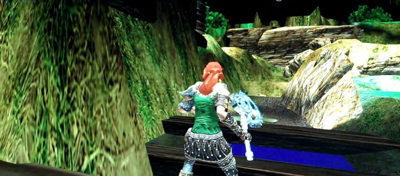 red haired woman buildier character surveying progress in building the illusion of a river.