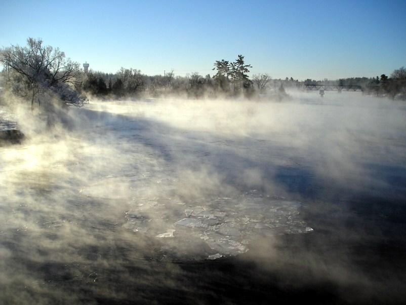 Fog on a river.