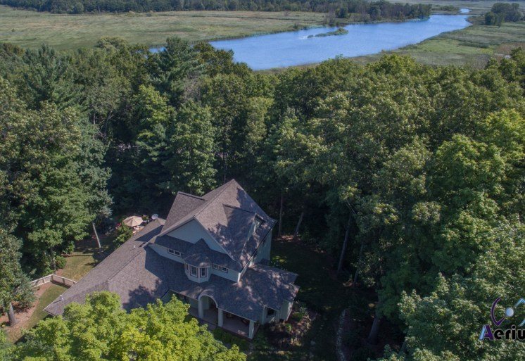 Aerial shot of house near Kalamazoo river. Taken on a DJI Phantom 3 Pro by Aerius Flight, LLC