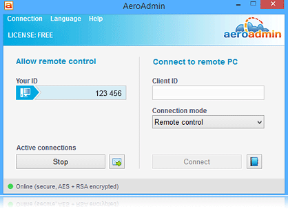 aeroadmin main window