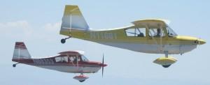 Citabria formation flight, tailwheel