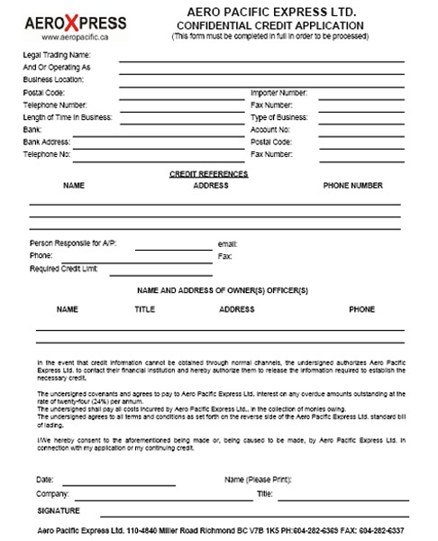 AeroXpress, Documents, Vancouver Freight - credit application form