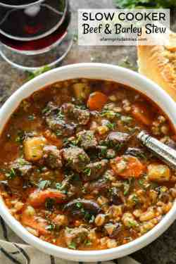Double Barley Stew A Dabbles Soup Or Stew Thickened Barley Stew From Slow Cooker Beef Slow Cooker Beef Okra Pods Soup Vs Stew Vs Chowder