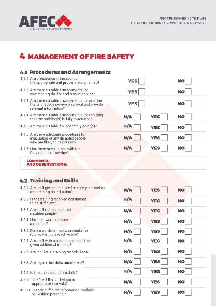 AFEC Fire Safety Risk Assessment Checklist Template