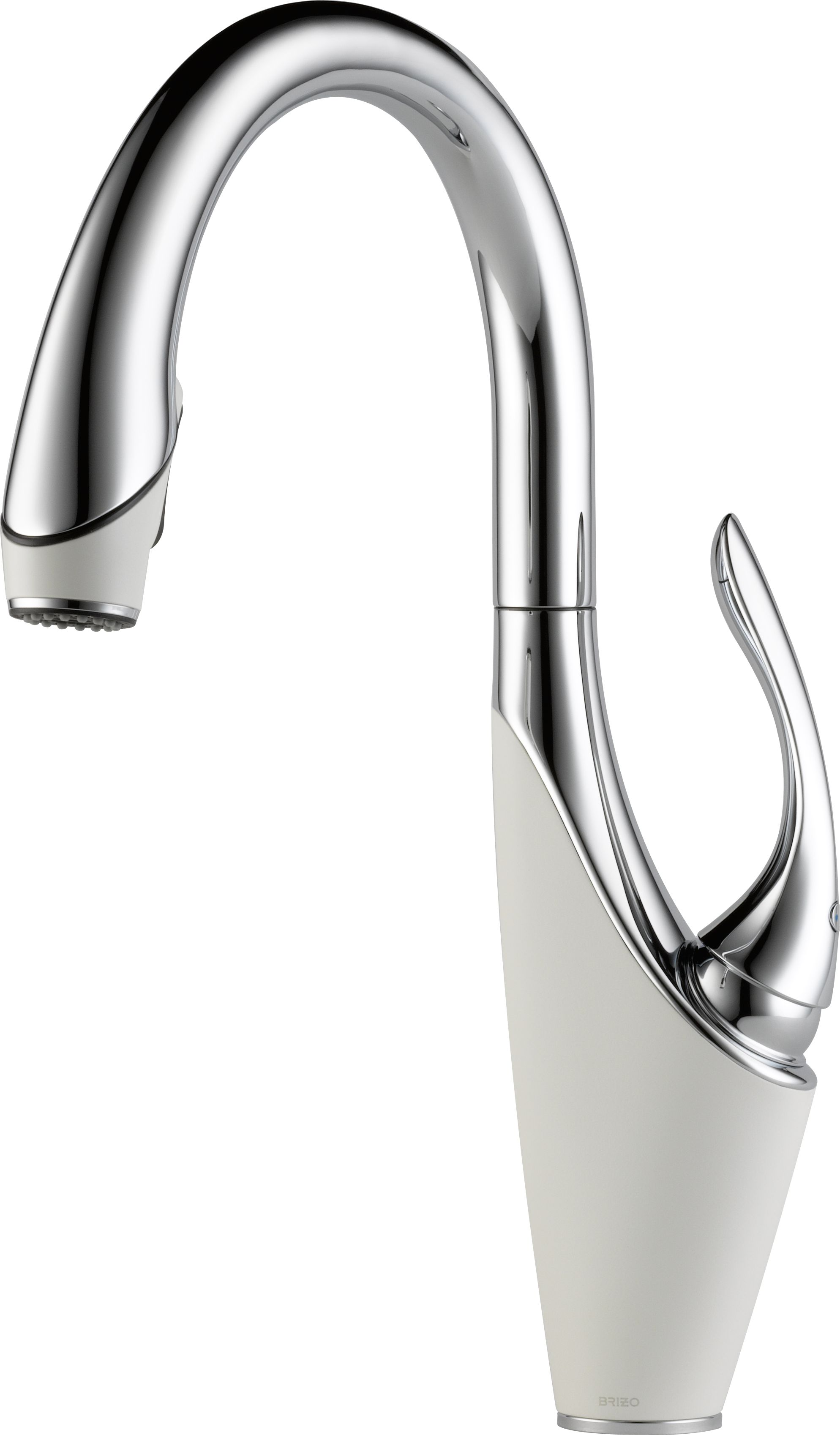brizo lfpcmw vuelo polished chrome and matte white single handle pulldown kitchen faucet p brizo kitchen faucets Brizo LF PCMW Vuelo Polished Chrome and Matte White Single Handle Pull Down Kitchen