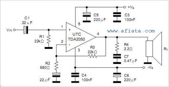 tda2050 amplifier layout and circuit diagram