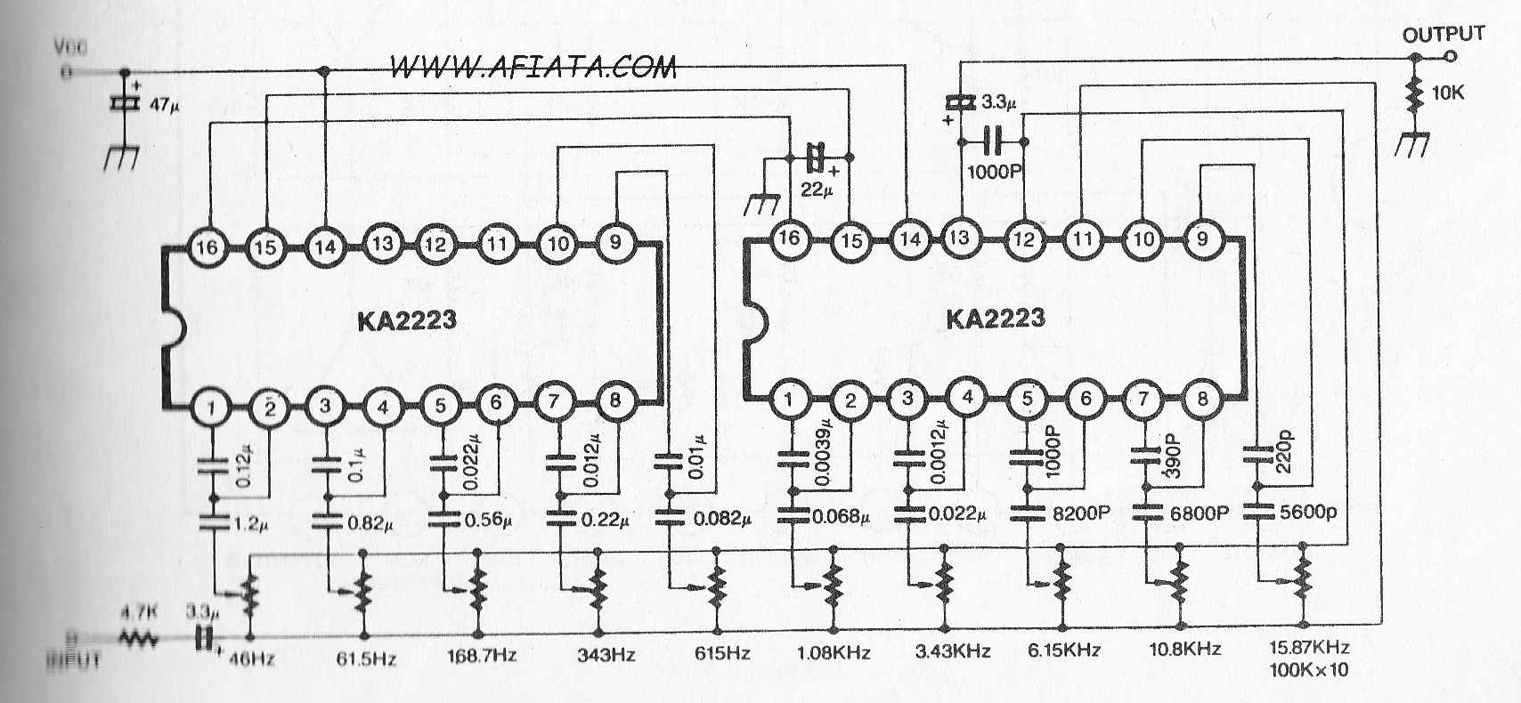 5 band graphic equalizer diagram