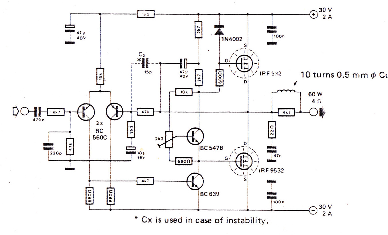 stereo low power audio amplifier