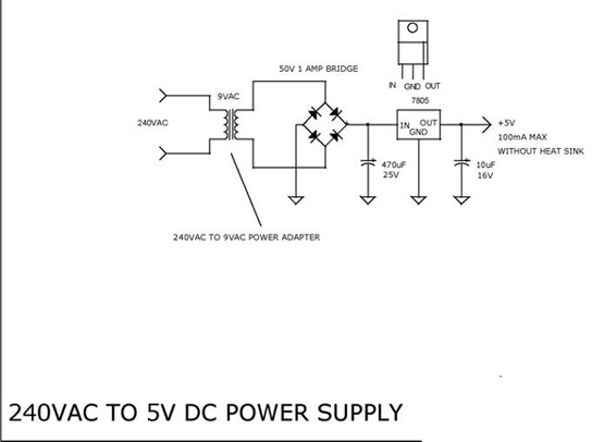 240VAC to 5V DC Power Supply using 7805 Electronic Circuit Diagram
