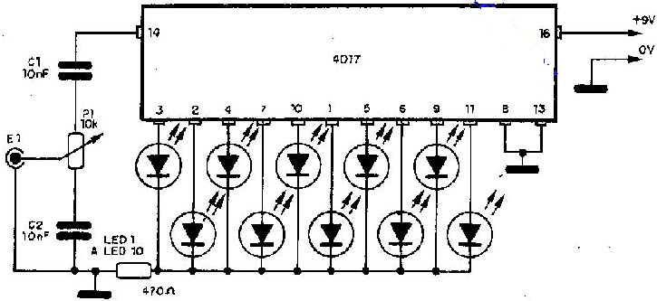 simple audio led indicator circuit
