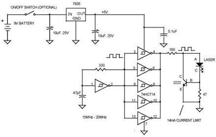 simple vcsel laser tester circuit
