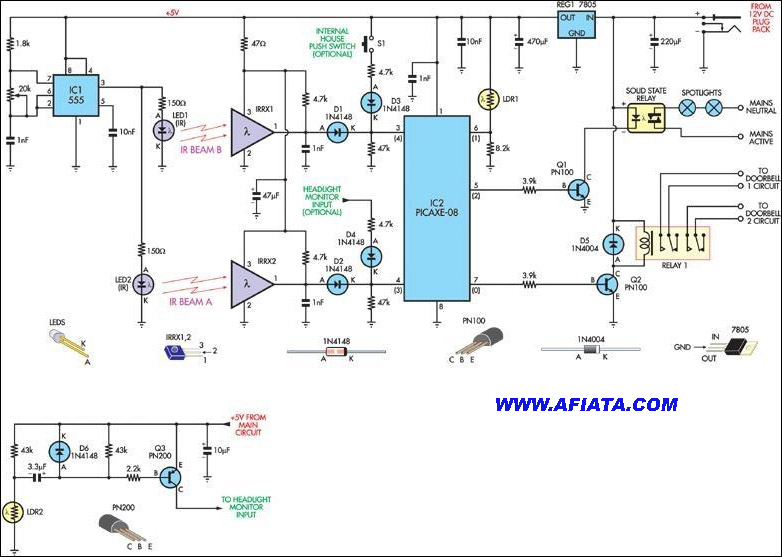 PUSH-ON and PUSH-OFF ELECTRONIC SWITCH Circuit Diagram using IR