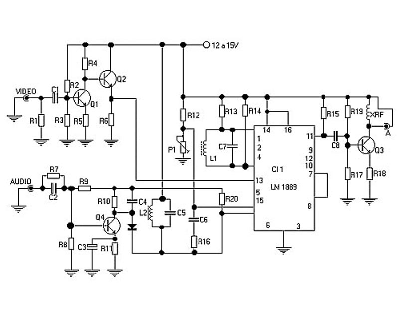 tv transmitter circuit using lm1889n