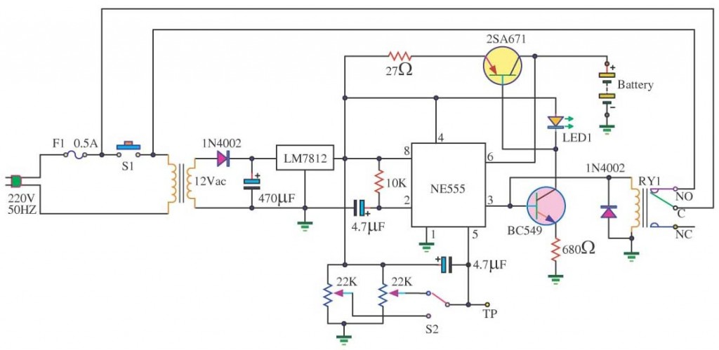 auto battery charger circuit Electronic Circuit Diagram and Layout