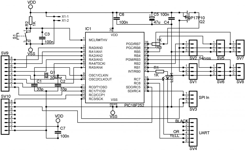 rc servo controller circuit using pic18f252