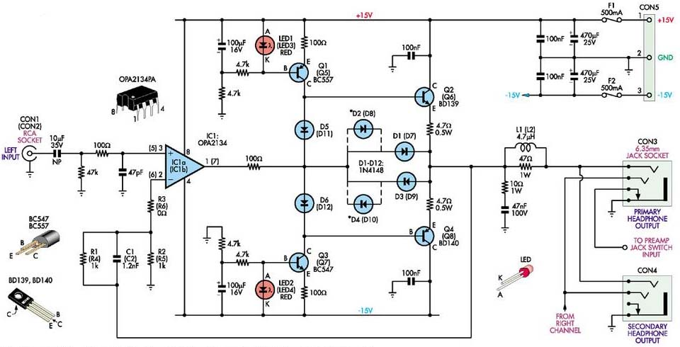 stereo headphone amplifier circuit schematic circuit diagram