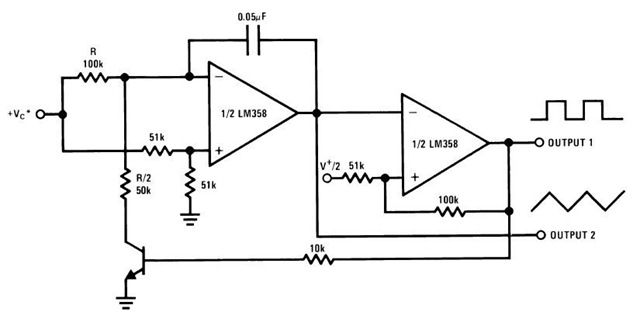 lm358 ic for voltage controlled oscillator and schematic diagram