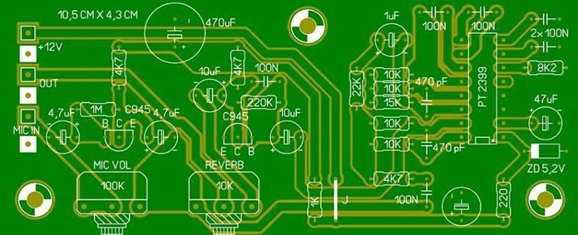 pt2399 reverb circuit and layout Electronic Circuit Diagram and Layout