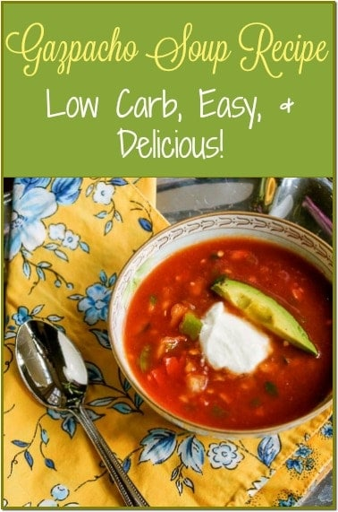 This is a lovely, fresh, healthy, low carb, homemade Gazpacho Soup Recipe made best with the ripe vegetables straight from the garden.