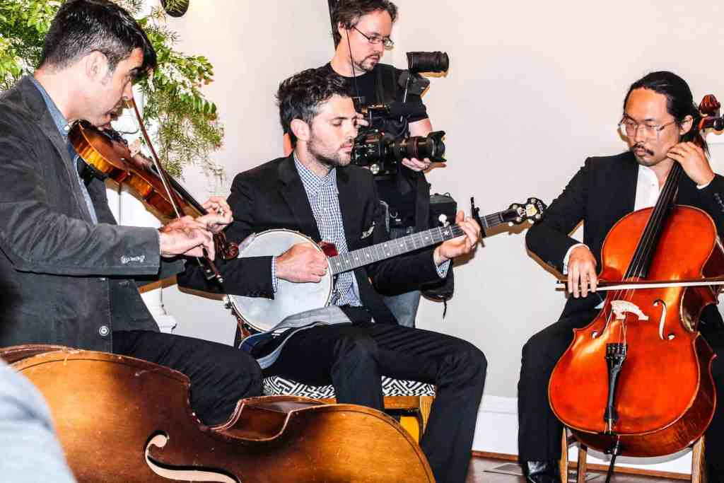 Bob Crawford, Scott Avett, and Joe Kwon Performing for the Lomax Benefit Dinner