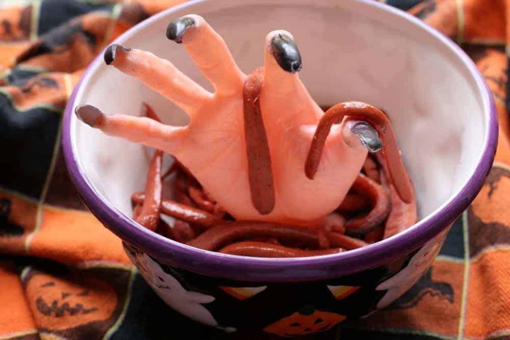 Halloween Hotdog Worms