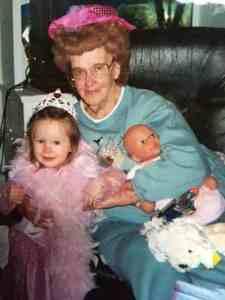"Juanita Moore, aka ""Granny Moore"" with my daughter, Caroline playing dress up"