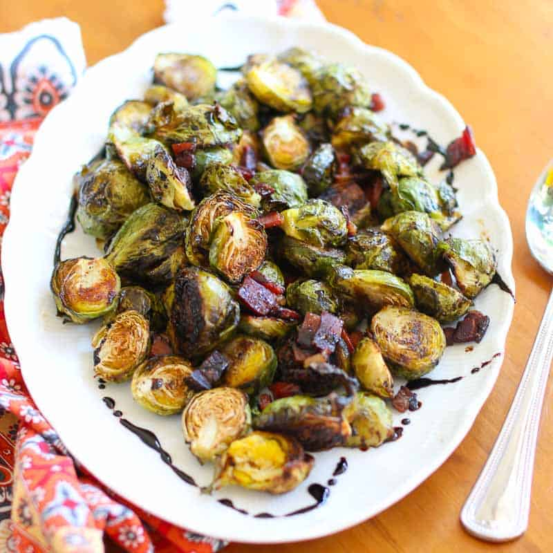 Roasted Brussels Sprouts with Speck Ham and Balsamic Glaze Recipe