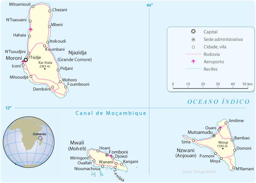 Comores Mapa - Ilhas da África