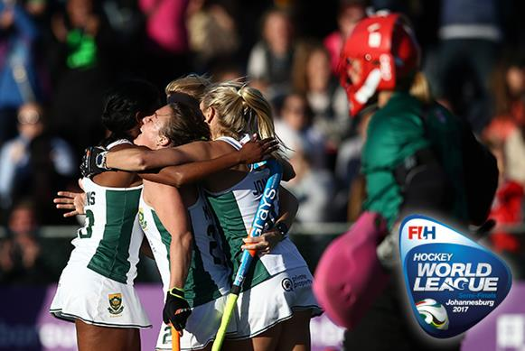 South Africa claimed an unexpected win over USA to reach the competition quarter-finals in Johannesburg. Copyright: FIH / Getty Images