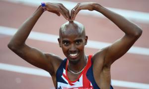 Mo Farah celebrates winning the men's 5,000m final at the European Championships in Helsinki in June