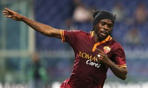 Gervinho celebrates scoring for Roma in their 2-0 Serie A win at Sampdoria on 25 September.