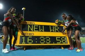 Mercy Cherono, Faith Kipyegon, Irene Jelagat et Hellen Obiri_record du monde relais 4x1500